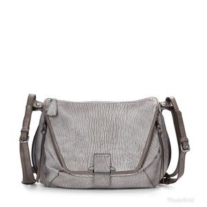 Kooba Gray Leroy Grained Leather Shoulder Bag